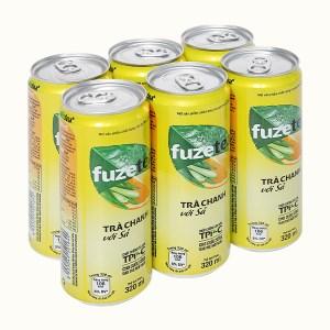 6 lon trà chanh với sả Fuze Tea 320ml