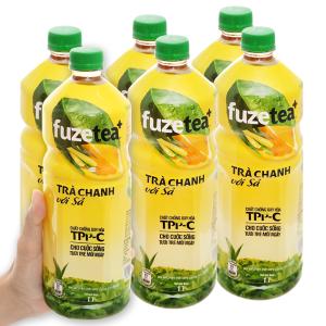 Lốc 6 chai trà chanh với sả Fuze Tea 1 lít
