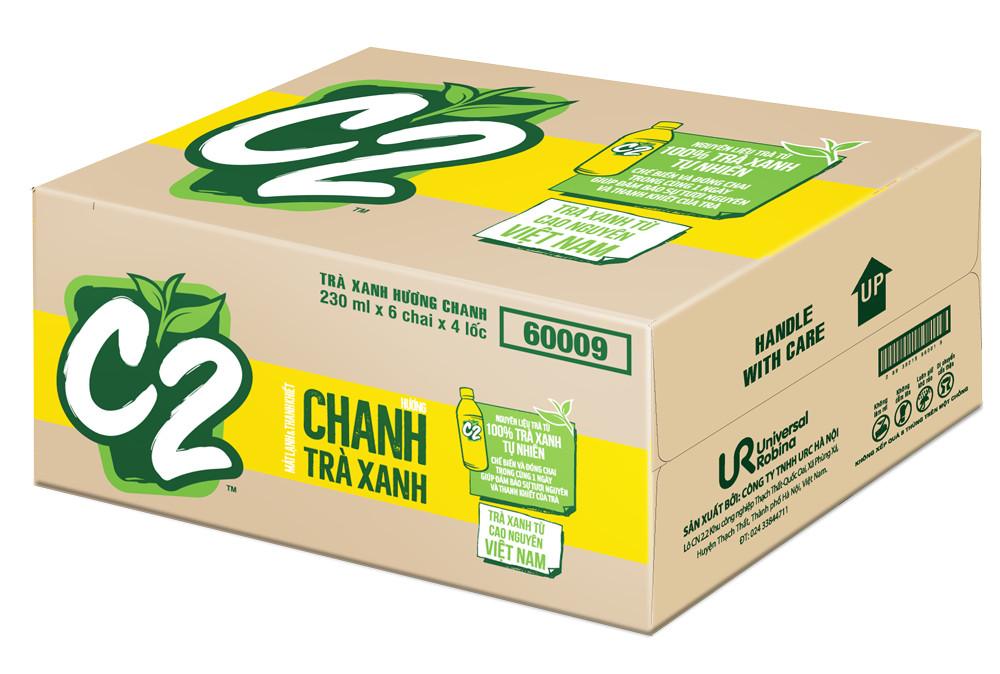 Thùng 24 chai trà xanh C2 hương chanh 230ml 1
