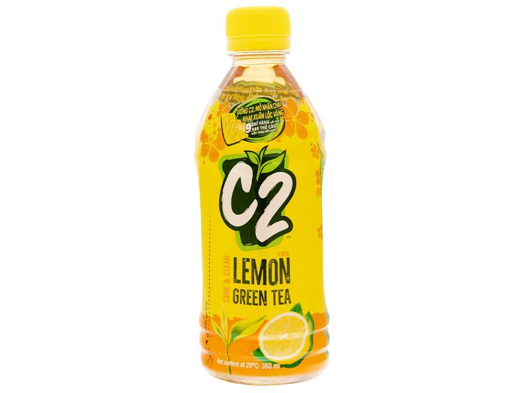 Thùng 24 chai trà xanh C2 hương chanh 360ml 10