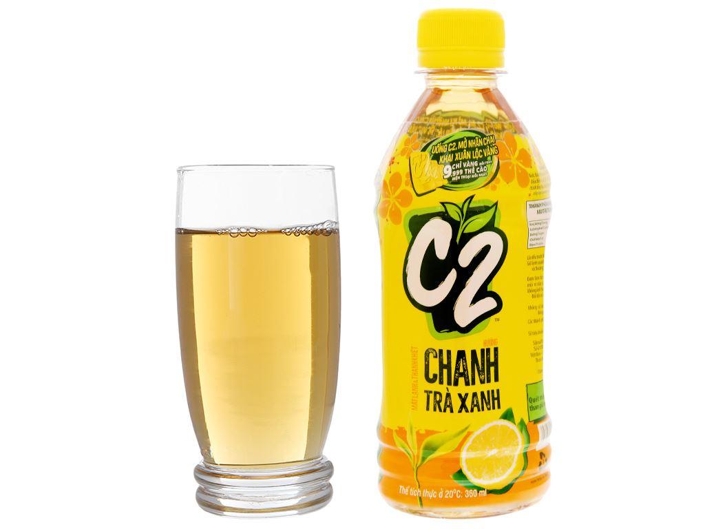 Thùng 24 chai trà xanh C2 hương chanh 360ml 14