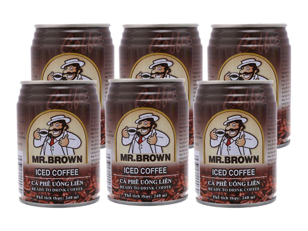 6 lon cà phê đen Mr.Brown Iced 240ml 1