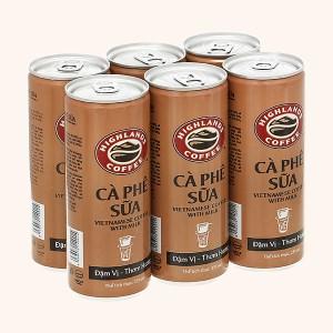 6 lon cà phê sữa Highlands 235ml