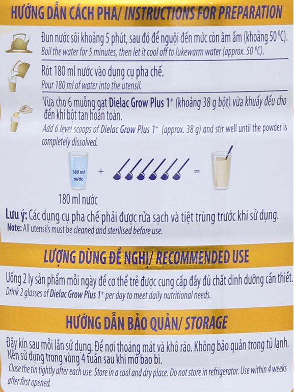 Sữa bột Dielac Grow Plus 1+ xanh lon 900g (1 - 2 tuổi) 8