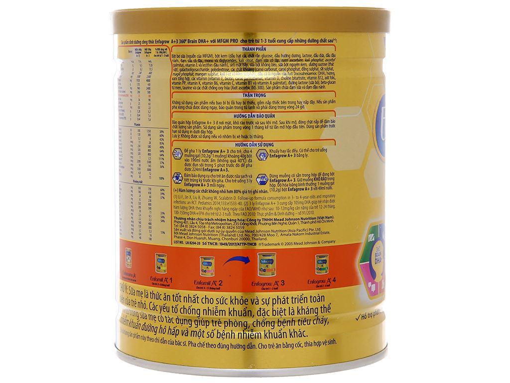 Sữa bột Enfagrow A+ 3 hương vani lon 400g (1 - 3 tuổi) 4