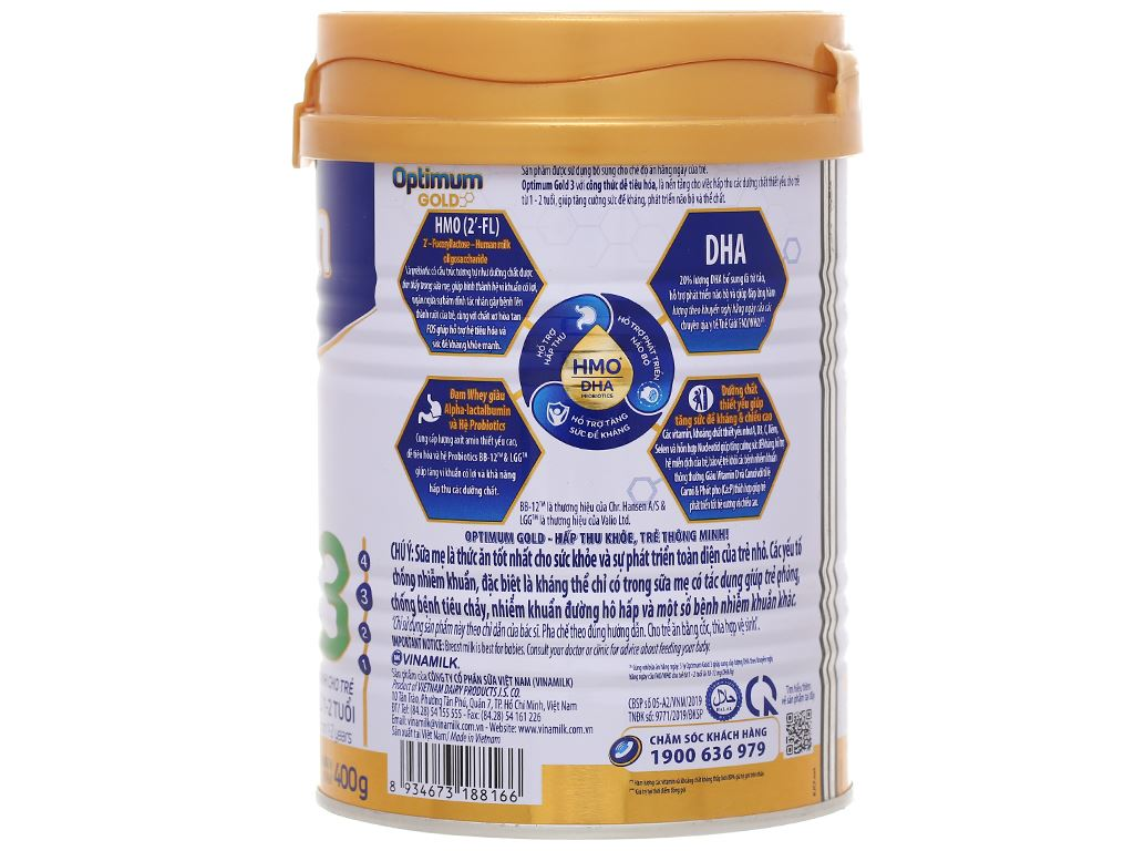 Sữa bột Optimum Gold 3 lon 400g (1 - 2 tuổi) 2
