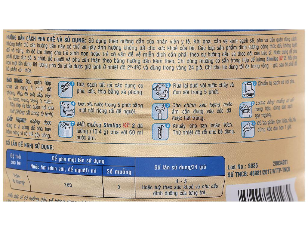 Sữa bột Abbott Similac Eye-Q 2 Plus HMO hương vani lon 900g (6 - 12 tháng) 6
