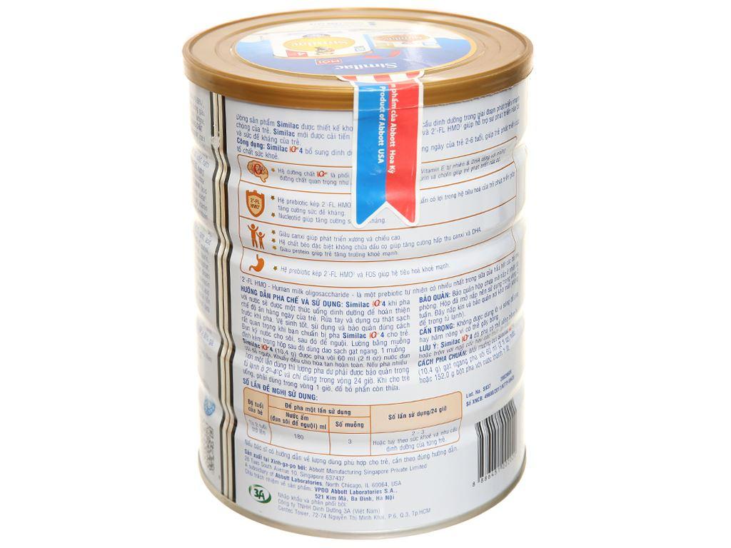 Sữa bột Abbott Similac Eye-Q 4 Plus (HMO) hương vani lon 900g (2 - 6 tuổi) 3