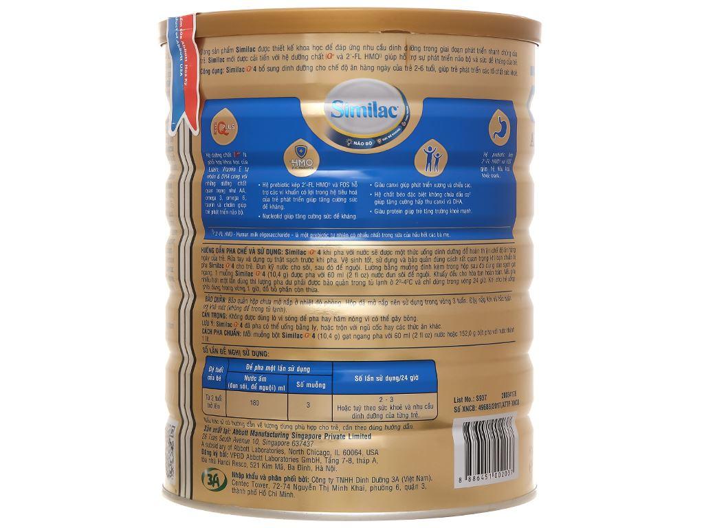 Sữa bột Abbott Similac Eye-Q 4 Plus (HMO) hương vani lon 1.7kg (2 - 6 tuổi) 3