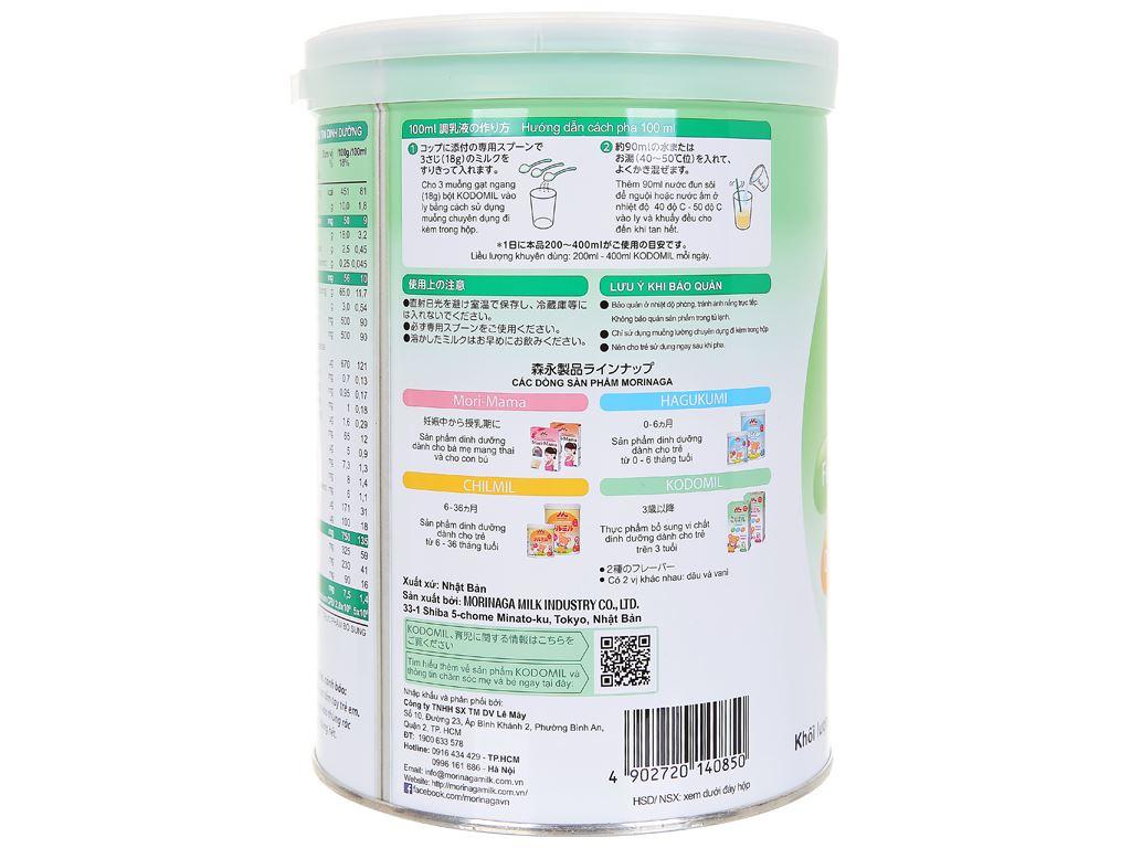 Sữa bột Morinaga Số 3 Kodomil hương vani lon 850g (trên 3 tuổi) 3