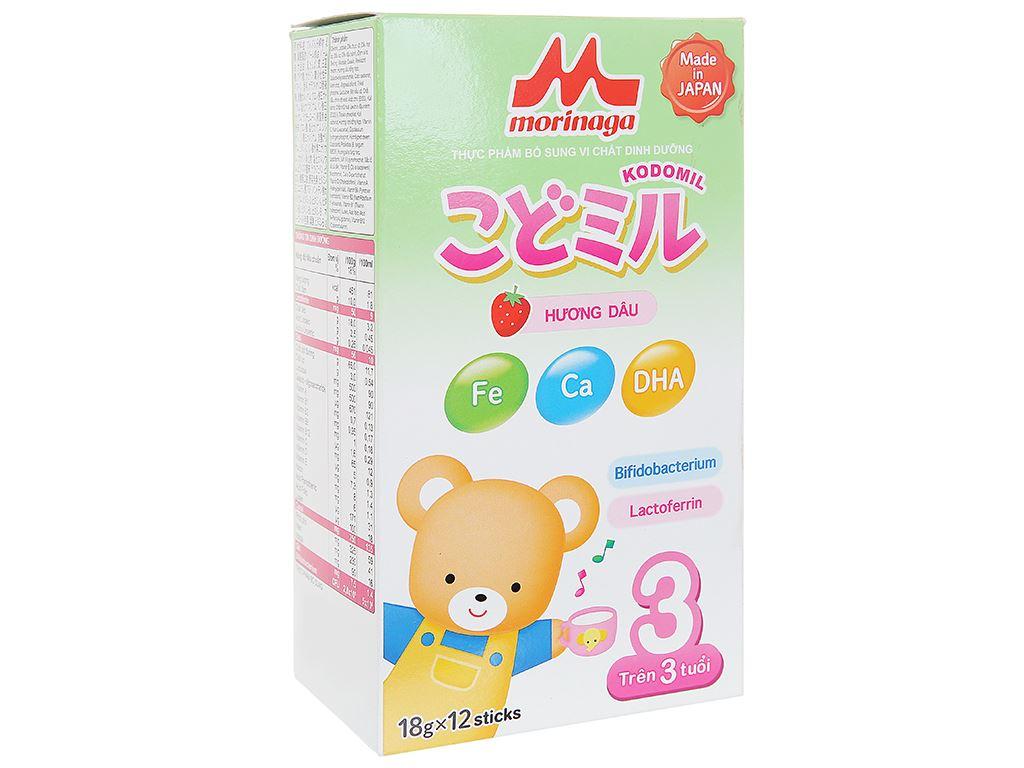 Sữa bột Morinaga Số 3 Kodomil hương dâu hộp 216g (trên 3 tuổi) 1