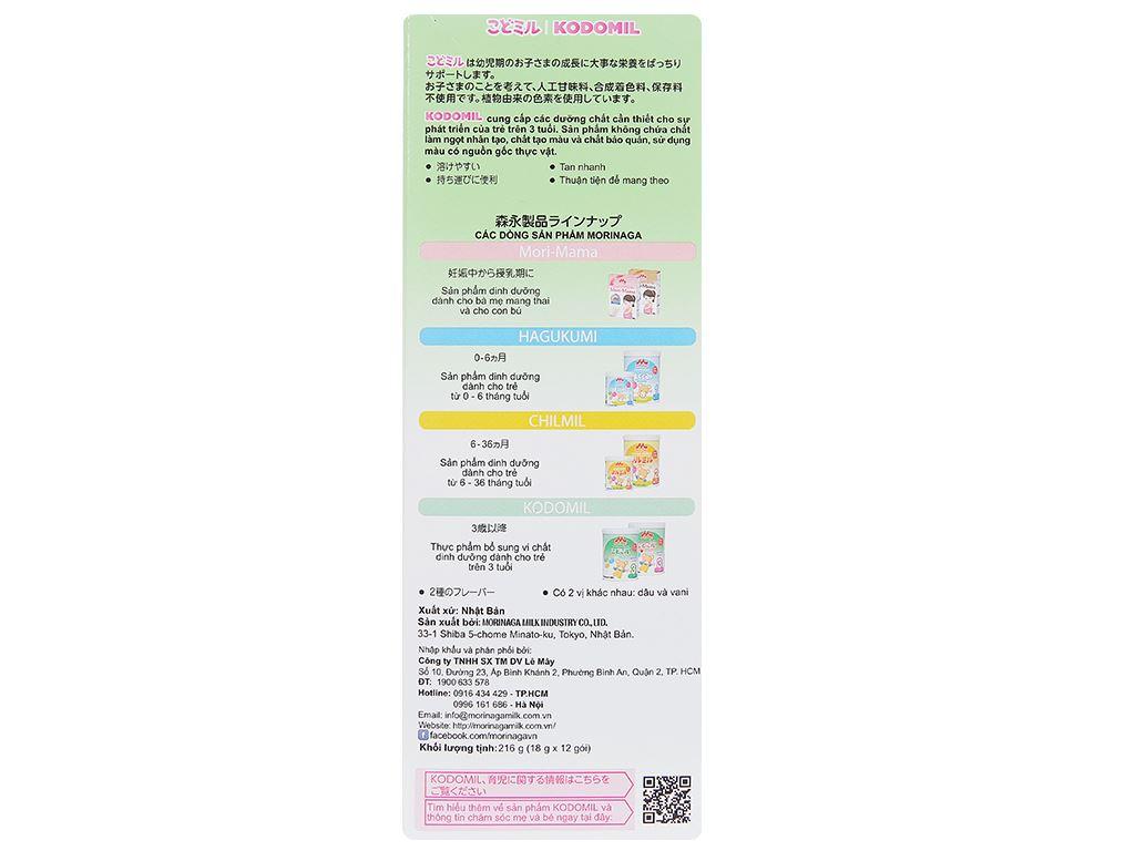Sữa bột Morinaga Số 3 Kodomil hương dâu hộp 216g (trên 3 tuổi) 3