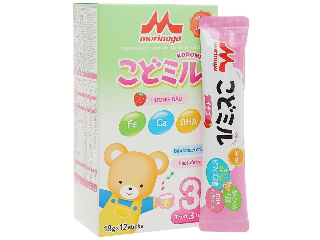 Sữa bột Morinaga Số 3 Kodomil hương dâu hộp 216g (trên 3 tuổi) 7
