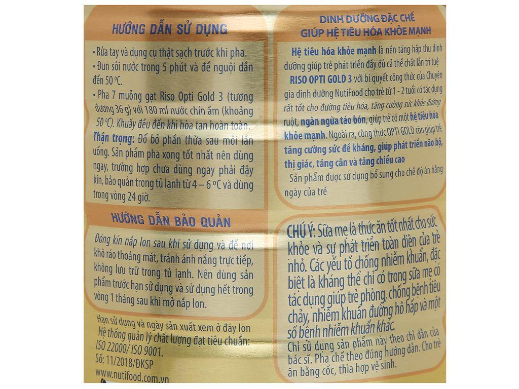 Sản phẩm dinh dưỡng công thức NutiFood Riso Opti Gold 3 lon 900g (1 - 2 tuổi) 7