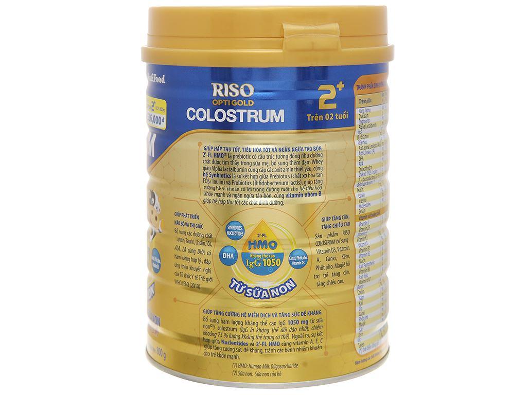 Sản phẩm dinh dưỡng NutiFood Riso Opti Gold Colostrum 2+ lon 800g (trên 2 tuổi) 2