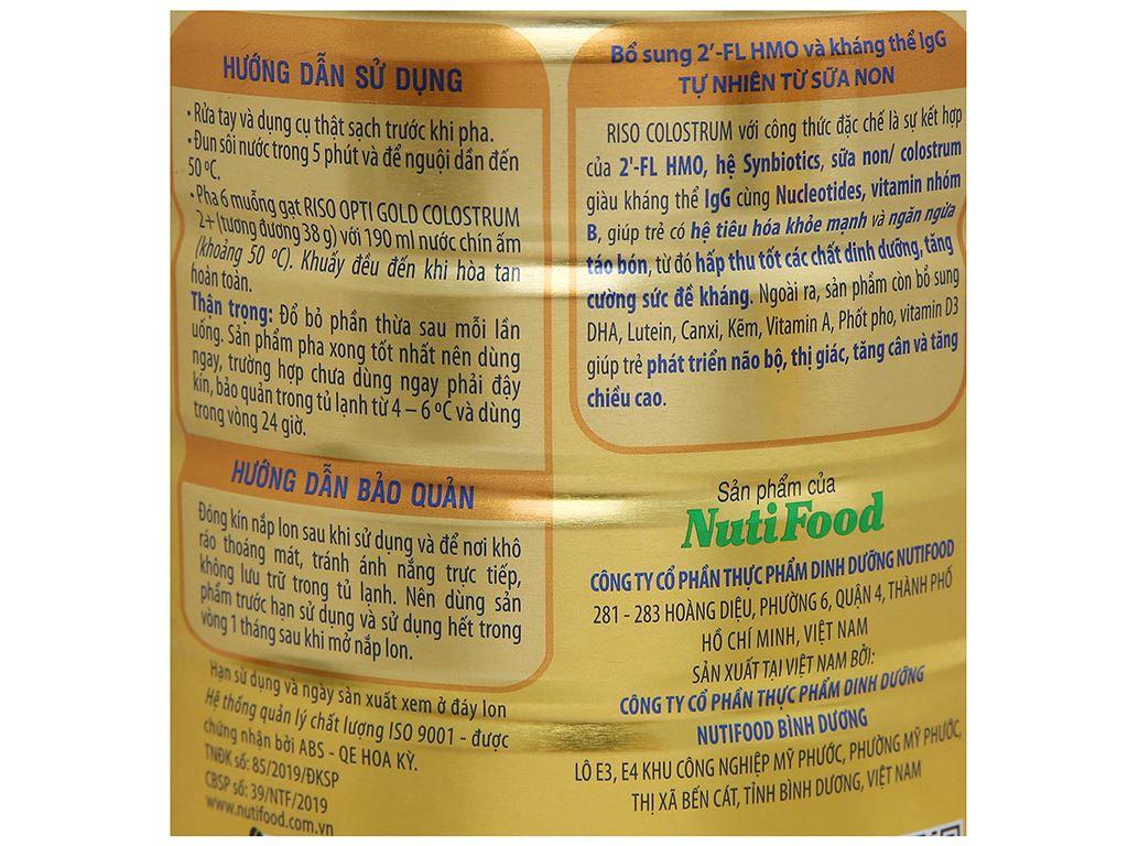 Sản phẩm dinh dưỡng NutiFood Riso Opti Gold Colostrum 2+ lon 800g (trên 2 tuổi) 7