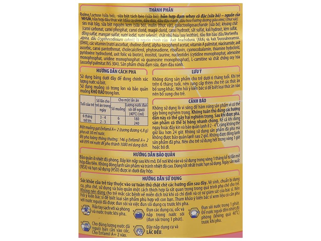 Sữa bột Enfamil A+ 2 lon 830g (6 - 12 tháng) 5
