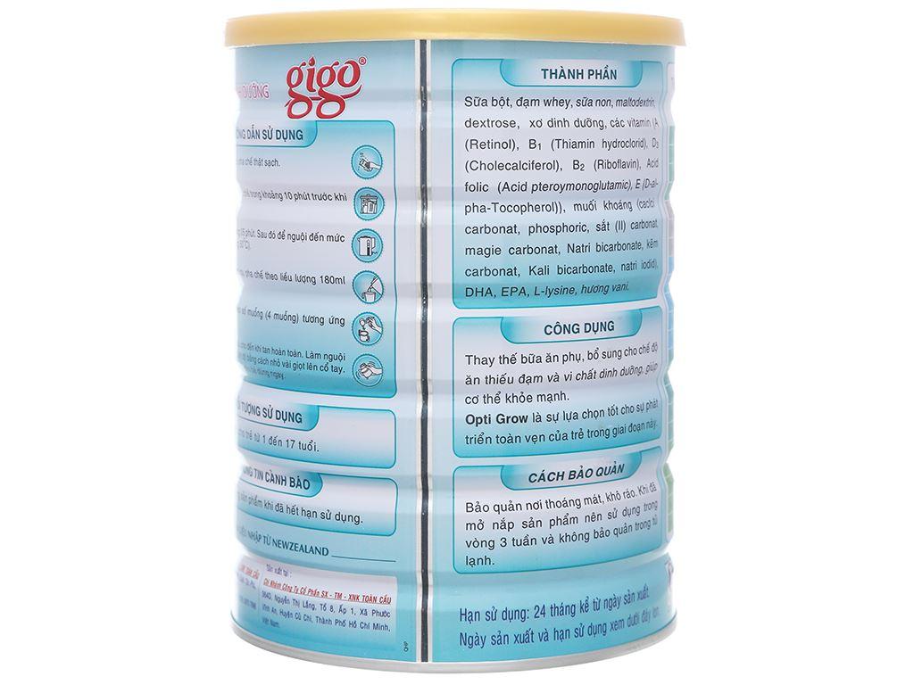 Sữa bột Gigo Opti Grow lon 900g (1 - 17 tuổi) 2