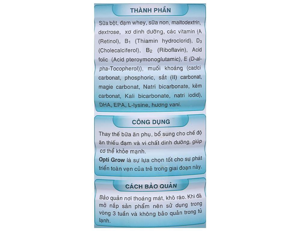 Sữa bột Gigo Opti Grow lon 900g (1 - 17 tuổi) 8