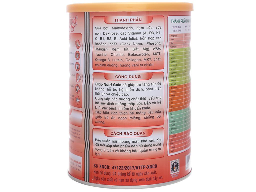 Sữa bột Gigo Nutri Gold lon 900g (1 - 12 tuổi) 3