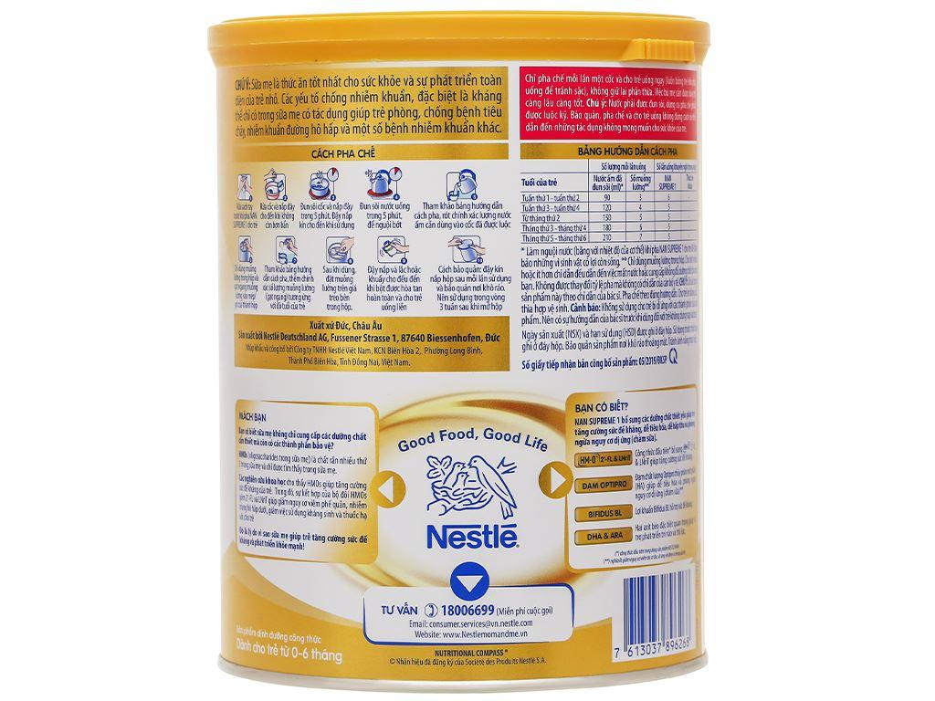 Sữa bột NAN Supreme 1 lon 800g (0 - 6 tháng) 2