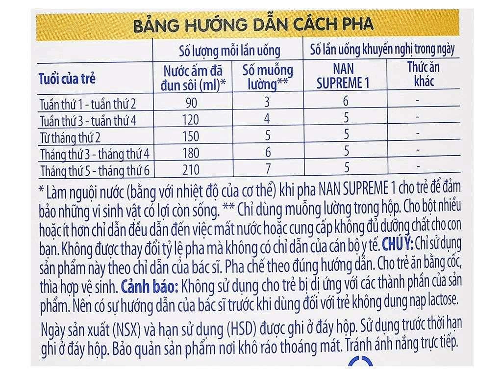 Sữa bột NAN Supreme 1 lon 800g (0 - 6 tháng) 6
