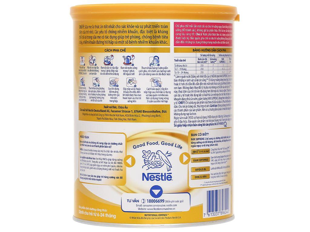 Sữa bột NAN Supreme 2 lon 800g (6 - 24 tháng) 2