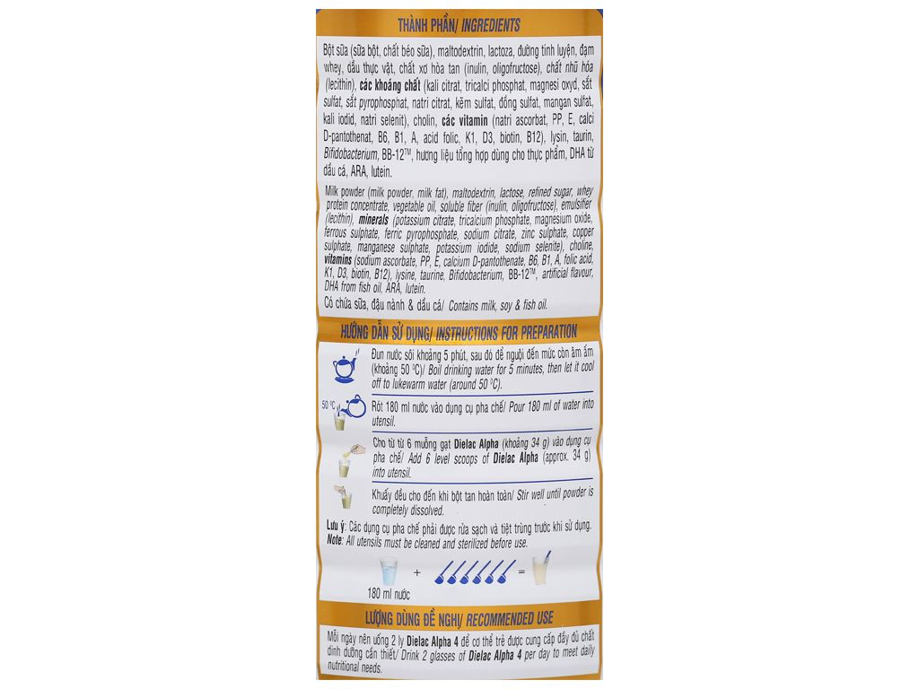 Sữa bột Dielac Alpha 4 lon 900g (2 - 6 tuổi) 4