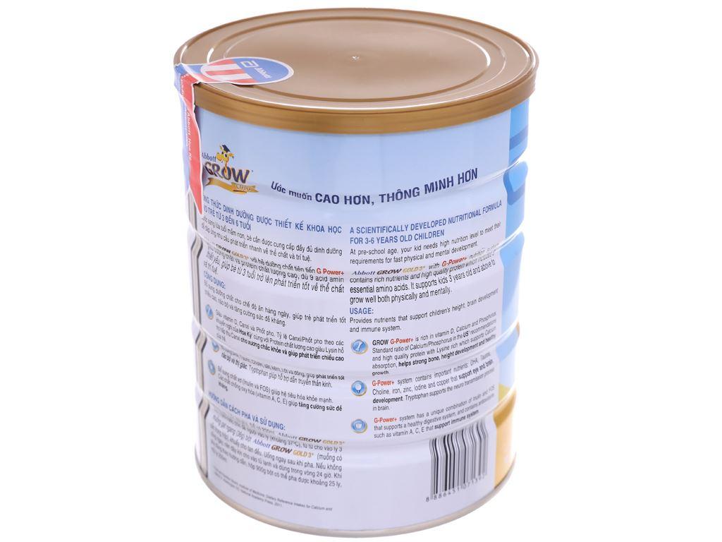Sữa bột Abbott Grow Grow Gold 3+ hương vani lon 900g (3 - 6 tuổi) 4