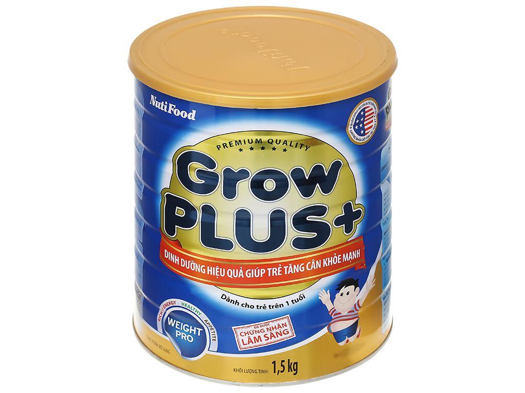 Sữa bột NutiFood Grow Plus+ tăng cân khoẻ mạnh lon 1.5kg (trên 1 tuổi) 1