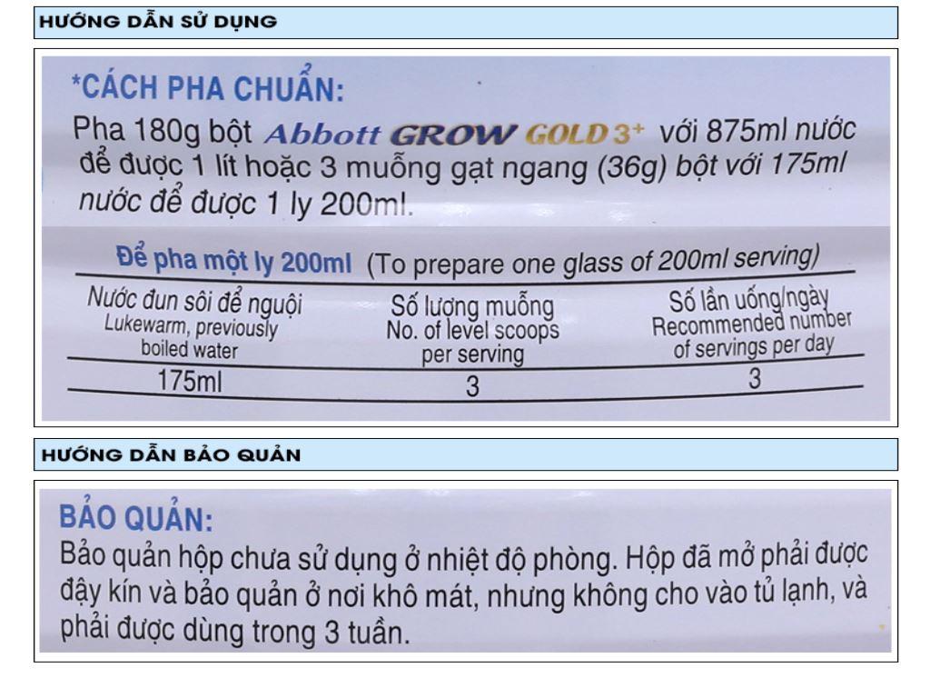 Sữa bột Abbott Grow Grow Gold 3+ hương vani lon 1.7kg (3 - 6 tuổi) 7