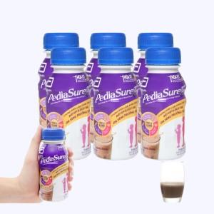 Lốc 6 chai sữa bột pha sẵn Abbott PediaSure socola chai 237ml