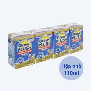 Lốc 4 hộp sữa dinh dưỡng pha sẵn NutiFood Grow Plus+ vani 110ml