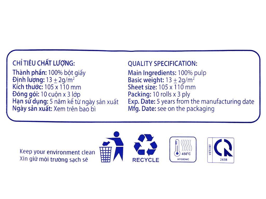 10 cuộn giấy vệ sinh không lõi Homelux 3 lớp 7