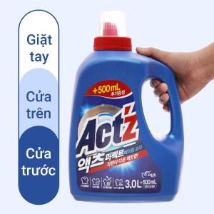 Nước giặt xả Act'z giữ màu và chống nhăn quần áo hương bạc hà chai 3.5 lít
