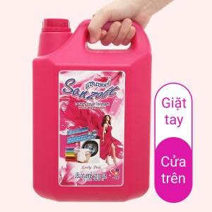 Nước giặt xả Sanzoft đậm đặc hương hoa hồng can 5 lít