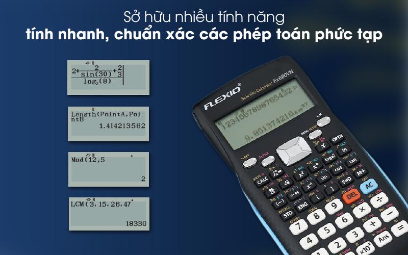 Nhiều tính năng thông minh - Máy tính khoa học Thiên Long - Flexio FX680VN Xanh
