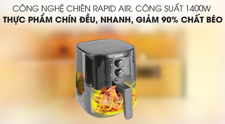 Công nghệ nấu nướng an toàn sức khỏe - Nồi chiên không dầu Philips HD920090 2.4 lít