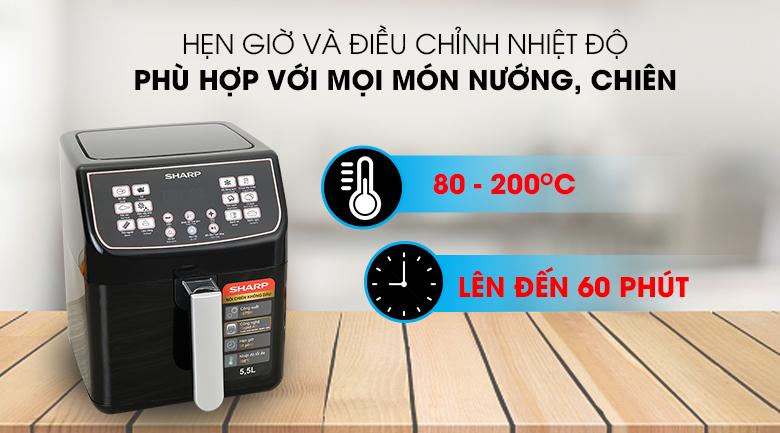 Điều chỉnh thời gian, nhiệt độ Nồi chiên không dầu Sharp KF-AF55EV-BK 5.5 lít