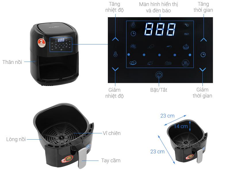 Thông số kỹ thuật Nồi chiên không dầu Magic Eco AC-102 5.5 lít