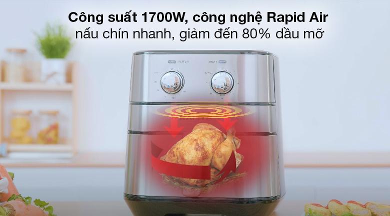 Nồi chiên không dầu Kalite Q5 5 lít - Công suất 1700W và công nghệ Rapid Air