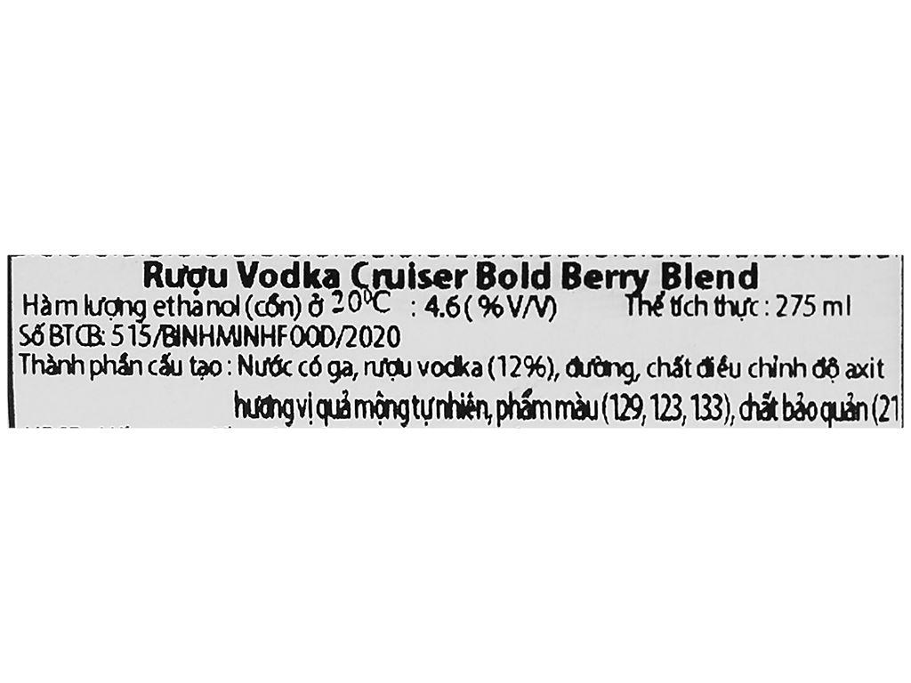 Rượu Vodka Cruiser Bold Berry Blend 4.6% 275ml 3