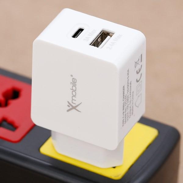 ដុំសាក 2 ports USB 2.4A Type C 3A Xmobile DS165
