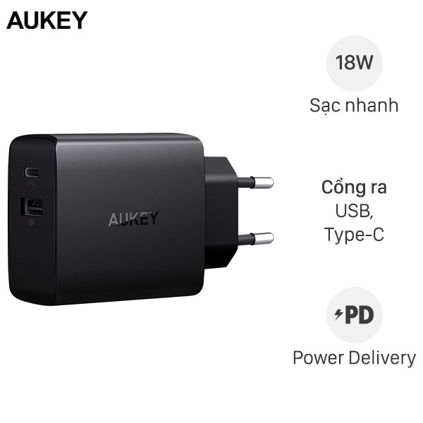 Adapter sạc 2 cổng 3A PD USB Type-C AUKEY PA-Y17 Đen
