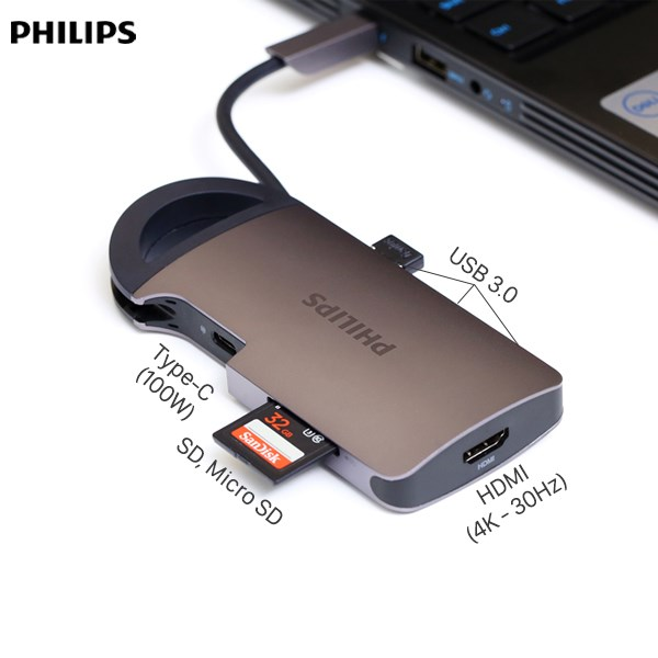 Adapter chuyển đổi Type C 7 in 1 Philips SWR1606B PL5099 Xám