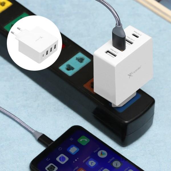ដុំសាកបួនរន្ធ USB Type C 4.8A Xmobile DS931 ស