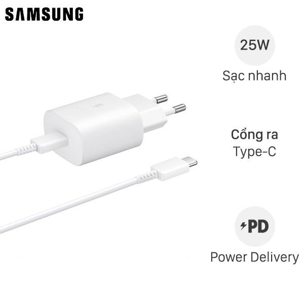 Bộ Adapter sạc kèm cáp Type C - Type C PD 25W Samsung EP-TA800 Trắng