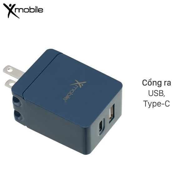 Adapter Sạc 2 cổng USB 2.4A Type C 3A Xmobile DS165-NB Xanh Navy