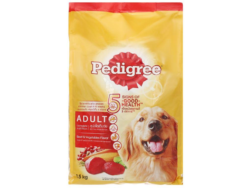 Thức ăn cho chó lớn Pedigree vị bò và rau củ túi 1.5kg 2
