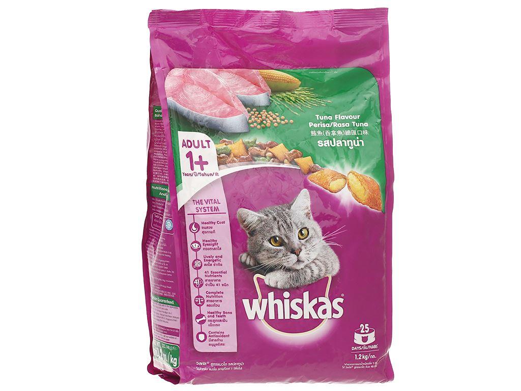Thức ăn cho mèo lớn Whiskas vị cá ngừ túi 1.2kg 1